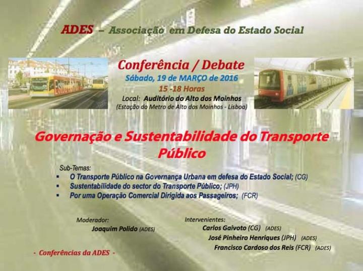 """Conferência/Debate """"Governação e Sustentabilidade do Transporte Público"""""""